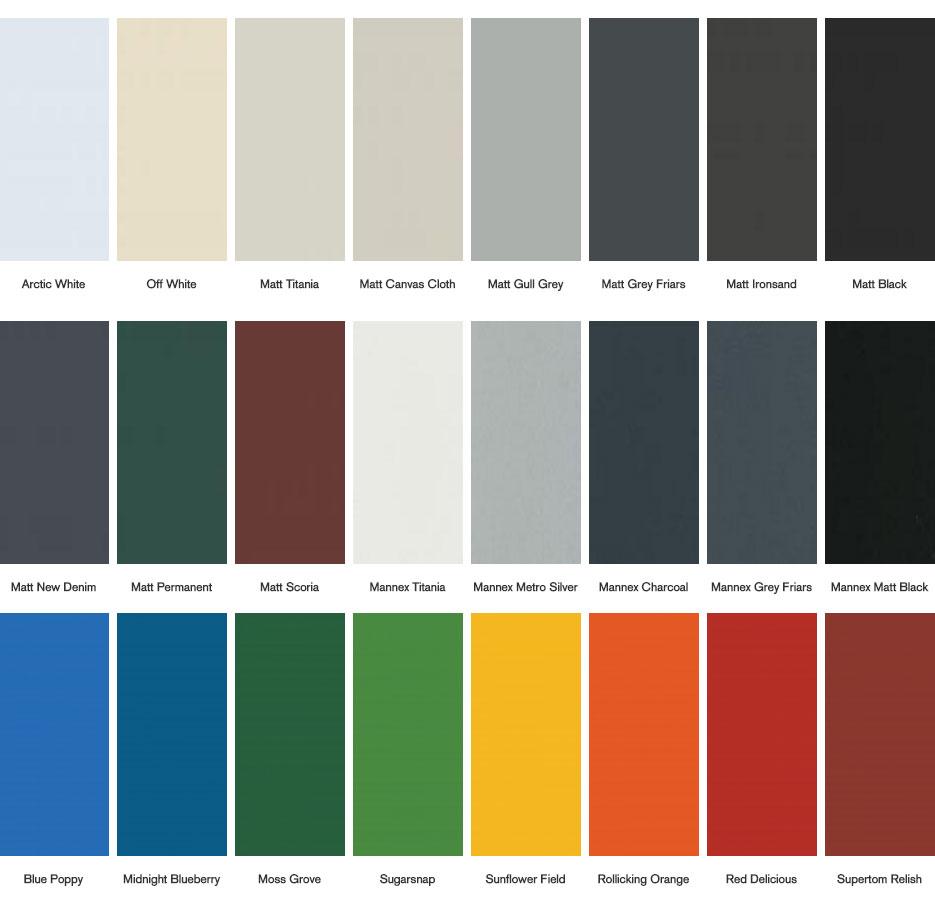Aluminium Colours Available